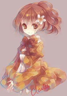Anime girl. .brown hair..golden eyes. .flower. .cute.. by Clavies