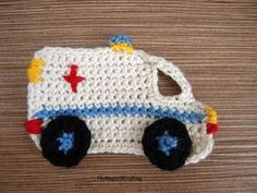 This ambulance applique is a nice embelishment for garments, hats, bags. It is around 3in(8cm) wide, 2.25in(5cm) long with crochet hook D (3.25mm). *** This pattern is free. You may sell the produ
