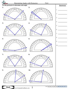 Determining Angles With Protractors Worksheet Fourth Grade Math Facts Worksheets