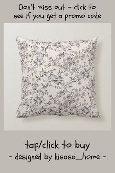 Beige Linen & Gray Elegant Dainty Floral Pattern Throw Pillow - tap/click to get yours right now! #ThrowPillow #beige #linen #gray #floral #modern Accent Pillows, Bed Pillows, Modern Room Decor, Beige, Gray, Custom Pillows, Flower Patterns, Elegant
