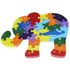 26pcs Colorful Wooden Elephant Puzzle Toy #women, #men, #hats, #watches, #belts, #fashion, #style