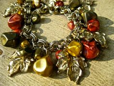 Autumn charm bracelet beads orange red leaves by pinkflamingo61, $35.00