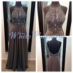 Long Dark Grey Bead Prom Dress Formal Dress Mint Peach Coral Homecoming Dress Party Dress Graduation Dress Cheap Custom Evening Dress