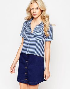 Oasis Striped Cropped Shirt