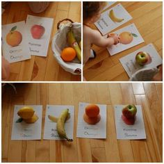 Activity to recognize the fruits. 15 Montessori Activities to Do at Home for Your Child& Development - Toddler Learning Activities, Games For Toddlers, Baby Learning, Montessori Activities, Infant Activities, Waldorf Montessori, Montessori Toddler, Maria Montessori, Toddler Development