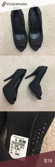 Black pumps for any occasion with any dress 👠 Gorgeous pair of black pumps. Never worn - tried few times. Movement and travel caused defects - see pictures 👠 fits size 5.5 mjphosis Shoes Heels