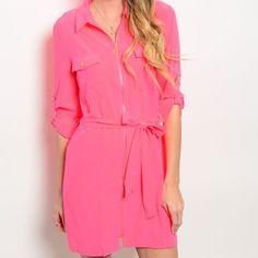 For @darlenewaldrop Gorgeous hot pink shirt dress! Dresses