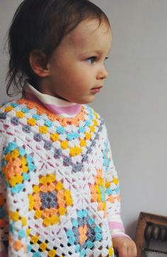 Girl granny square poncho Baby girl crochet outfit by Nastiin