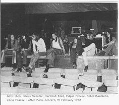Manuel Gottsching, Rosi, Klaus Schulze, Hartmut Enke, Edgar froese, Peter baumann, Chriss Franke - after Paris concert, 15.02.1973