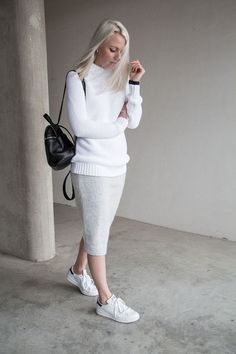 @roressclothes closet ideas #women fashion outfit #clothing style apparel Sweater, Skirt and White Sneakers