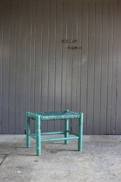 #green #painted #stool #cane $45 Outdoor Furniture, Outdoor Decor, Interior Styling, Stool, Green, Vintage, Collection, Home Decor, Interior Decorating