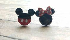 Minnie❤Mickey stud earrings! https://www.etsy.com/listing/386394116/disney-stud-earrings-minnie-mickey-mouse