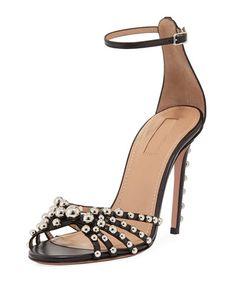 X4059 Aquazzura Bon Bon Beaded Ankle-Strap Sandal