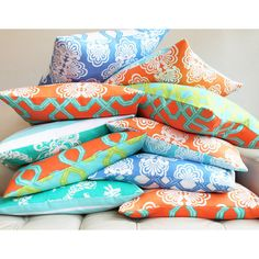 "Lilly Pulitzer Turquoise Orange Pillow Cover 12x20"" - Two Splendid Looks in One Cover - Kiwi Sunset Designer Collection"