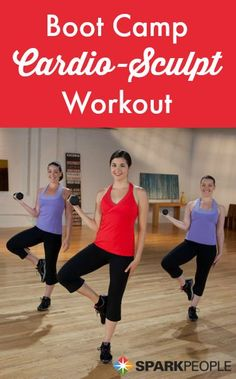 18-Minute Boot Camp Cardio Sculpt Video. Perfect for those super busy days when you need to squeeze in a workout! | via @SparkPeople #fitness #workout #exercise #bootcamp