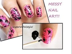 Spun Splatter! MESSY Nails!! ✦ Toothpick ✦ Nail Art Designs Without Tools (No tools) - YouTube