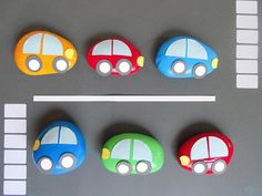 These DIY Rock Car Paperweights are darling. Use them in a little boy's room or the craft room!