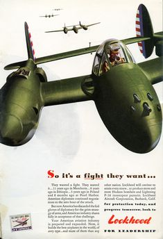 "at ""Lost Liver"": WWII Lockheed aircraft ads. Vintage Advertisements, Vintage Ads, Vintage Posters, Vintage Airline, Retro Ads, Vintage Travel, Ww2 Aircraft, Military Aircraft, Lockheed P 38 Lightning"