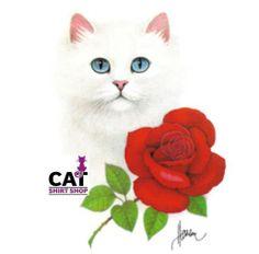 Cat Shirt White Face with Blue Eyes & Red Rose, Pretty Kitty, Garden Kitten
