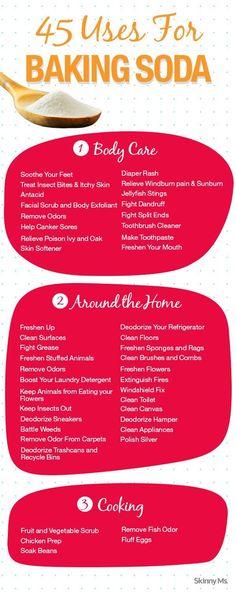 45 Uses for Baking Soda! #bakingsoda #homeremedies