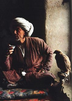 Turkmen man and his bird, Afghanistan - National Geographic: