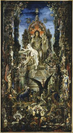"femme-de-lettres: ""Large (Wikimedia) The French Symbolist Gustave Moreau, one of the most distinctive artists I can think of, painted Jupiter and Semele in 1894 and It depicts the story of Zeus. Juno Jupiter, Art Visionnaire, Visionary Art, Dionysus, French Artists, Greek Mythology, Oeuvre D'art, Les Oeuvres, Art History"