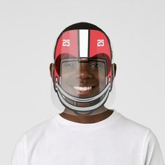Football Helmet Bright Red White Numbered Kids' Face Shield - tap to personalize and get yours #KidsFaceShield  #football #american #sport #boys #girls Yellow Black, Red And White, Eye Frames, Clear Face, Plastic Animals, Glasses Frames, White Ink, Perfect Match, Football Helmets