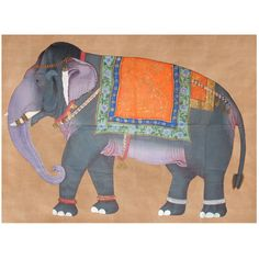 Elephant cloth painting from John Robshaw Souk: Hand-painted on cotton with mineral pigments supposedly 40 years old from a now defunct painting studio in Jaipur. Ready to hang with small loops. Minor spotting from painting but still pleasant.