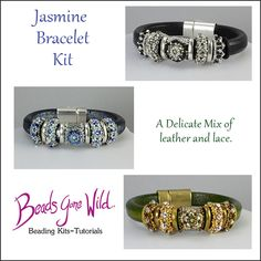 Leather and Lace make a stunning bracelet. Right Angle Weave, Bangles, Beaded Bracelets, Lace Making, Bead Weaving, Leather And Lace, Bracelet Watch, Wedding Rings, Kit