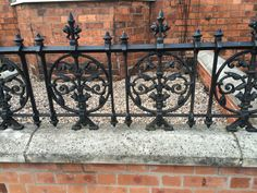 These cast sections are designed to thread onto two pieces of steel creating a strong solid railing with a wonderful decorative design. Samples on display at our showrooms. Cast Iron Railings, Gates And Railings, Metal Railings, Balcon Juliette, Victorian Front Garden, Bedroom Storage For Small Rooms, Victorian Irons, Urban Garden Design, Balcony Railing Design