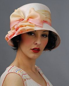 Louise Green hat – Louise Green Millinery #cloche #judithm Lovely Louise Green straw cloche. Flattering look with soft silk bow.