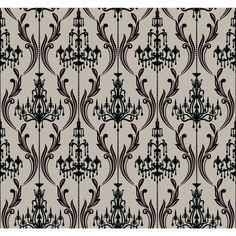 Black and silver chandelier damask in a prepasted wallpaper. Ashford House Black & White page