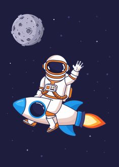 Astronaut vector illustration by yellowline Astronaut Cartoon, Astronaut Drawing, Astronaut Illustration, Space Illustration, Buda Wallpaper, Best Logo Fonts, Rocket Drawing, Planet Drawing, Islamic Posters