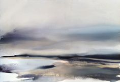 """An infinite moment"" Large Watercolor Landscape - Size: 40.5"" H x 60"" L by sabrina garrasi - www.sabrinagarrasi.com"
