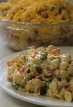 A pasta salad with NO MAYO.  Not everyone likes mayo.  Make this a healthier version by using fat-free or low-fat sour cream, jazzed up with fat-free french dressing and seasoned salt.  LOVE this.  Recipe and tutorial (with pictures) included on this site.