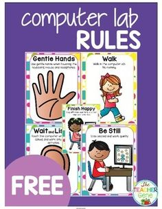 COMPUTER LAB RULES POSTERS {FREEBIE} and great post on Introducing Computers in Kindergarten