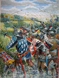 Batalla de Auray, 29 de Septiembre de 1364, que significó el final de la Guerra de Sucesión Bretona, enmarcada en la Guerra de los Cien Años. En ella las huestes de Juan de Montfort, asistido por tropas inglesas, vencieron al pretendiente Charles de Blois, apoyado por franceses y que dejó la vida en la batalla. Cortesía del maese Rava. Más información y debate en www.elgrancapitan,org