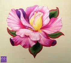 Silk shading worked by Noo B by Royal School of Needlework - Durham, via Flickr