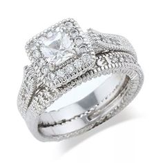 Engagement Double Ring Set White Gold Plated White Cubic Zirconia Various Sizes