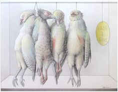 "Jane Lewis ""Earthlings - ""Game Birds: The Small Price of Life & Death"" (graphite and coloured pencil on paper) Jane Lewis, Game Birds, Coloured Pencils, Life And Death, Graphite, Rooster, Religion, Gallery, Paper"