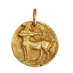 Van Cleef & Arpels Sagittarius Gold Zodiac Pendant Charm | From a unique collection of vintage more jewelry at http://www.1stdibs.com/jewelry/more-jewelry-watches/more-jewelry/