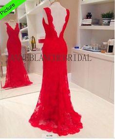 Red lace prom dress open back prom dress low backless prom evening dress party dress club dress v line dress