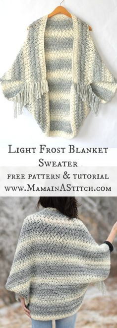 Light Frost Easy Blanket Sweater Crochet Pattern I love this cozy sweater! Free pattern for crochet light frost blanket sweater, with a photo tutorial to help you assemble and finish the sweater. This easy crochet sweater pattern is great for beginners. Poncho Au Crochet, Pull Crochet, Mode Crochet, Crochet Gratis, Crochet Jacket, Crochet Stitches, Knit Crochet, Crochet Shrugs, Blanket Crochet