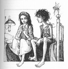peter and wendy, tinkerbell looking on. trina schart hyman illustration.