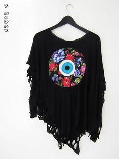 Evil Eye Flower Poncho by zhovak on Etsy, $38.00