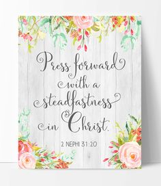 LDS Young Women Theme 2016, Press Forward with a Steadfastness in Christ, Printable Young Women Theme 2016, Faux Wood and Watercolor