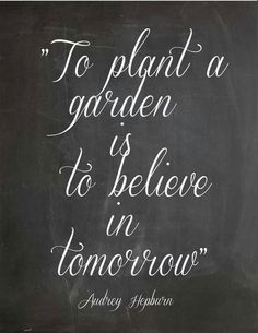 To plant a garden is to believe in tomorrow = Love this