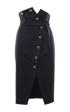 Stretch Wool Button Front Pencil Skirt by FRANCESCO SCOGNAMIGLIO for Preorder on Moda Operandi