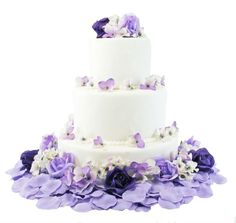 Our exclusive and very popularHydrangea and Rose collection is a beautiful option to decorate your wedding cake.Gorgeous flowers in elegant shades of dark purpleto a soft lavender.  This versatile