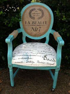 Items similar to French Louis XVI Arm Chair Shabby Chic Upholstered Burlap Custom Chalk Paint Annie Sloan Aqua Blue Teal Chairs Cottage Country Painted decor on Etsy Muebles Shabby Chic, Shabby Chic Decor, French Decor, French Country Decorating, Paint Furniture, Furniture Makeover, Furniture Design, Bedroom Furniture, Bedroom Chair